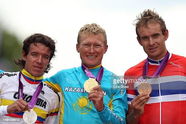 Silver medallist Rigoberto Uran Uran of Colombia gold medallist Alexandr Vinokurov of Kazakhstan and bronze medallist Alexander Kristoff of Norway...