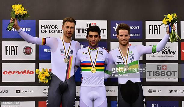 Silver Medallist Roger Kluge of Germany Gold Medallist Fernando Gaviria Rendon of Columbia and Bronze Medallist Glenn O'Shea of Australia following...
