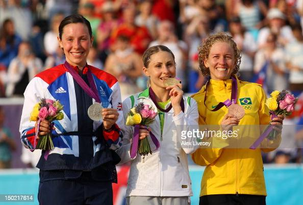 Silver medallist Samantha Murray of Great Britain Gold medallist Laura Asadauskaite of Lithuania and Bronze medallist Yane Marques of Brazil...