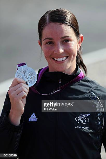Silver medallist Sarah Walker of New Zealand celebrates during the medal ceremony for the Women's BMX Cycling Final on Day 14 of the London 2012...