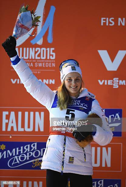 Silver medallist Stina Nilsson of Sweden celebrates after the Women's CrossCountry Sprint Final during the FIS Nordic World Ski Championships at the...
