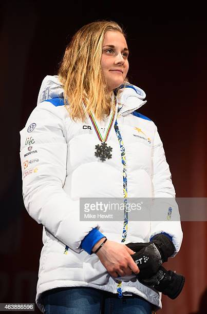 Silver medallist Stina Nilsson of Sweden poses during the medal ceremony for the Women's CrossCountry Sprint during the FIS Nordic World Ski...