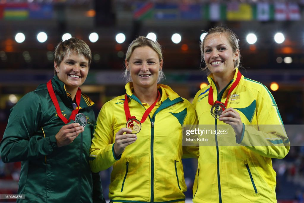 Silver medallist <a gi-track='captionPersonalityLinkClicked' href=/galleries/search?phrase=Sunette+Viljoen&family=editorial&specificpeople=801217 ng-click='$event.stopPropagation()'>Sunette Viljoen</a> of South Africa, gold medallist Kim Mickle of Australia and bronze medallist Kelsey-lee Roberts of Australia pose on the podium during the medal ceremony for the Women's Javelin Throw at Hampden Park during day seven of the Glasgow 2014 Commonwealth Games on July 30, 2014 in Glasgow, United Kingdom.