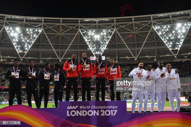 Silver medallist US athlete Wilbert London III US athlete Gil Roberts US athlete Michael Cherry and US athlete Fred Kerley gold medallista Trinidad...