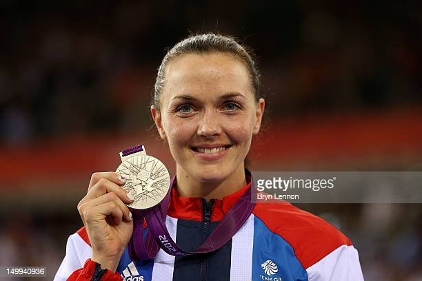 Silver medallist Victoria Pendleton of Great Britain celebrates during the medal ceremony for the Women's Sprint Track Cycling Final on Day 11 of the...