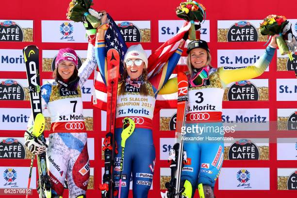 Silver medallist Wendy Holdener of Switzerland poses with gold medallist Mikaela Shiffrin of The United States and bronze medallist Frida Hansdotter...