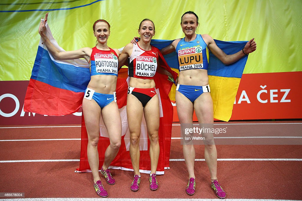 Silver medallist Yekaterina Poistogova of Russia, gold medallist Seline Buchel of Switzerland and bronze medallist Nataliya Lupu of Ukraine pose after Women's 800 metres Final during day three of the 2015 European Athletics Indoor Championships at O2 Arena on March 8, 2015 in Prague, Czech Republic.
