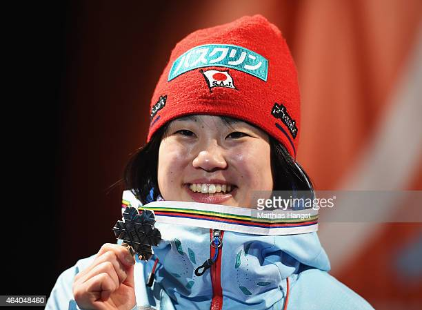 Silver medallist Yuki Ito of Japan poses during the medal ceremony for the Women's HS100 Normal Hill Ski Jumping during the FIS Nordic World Ski...