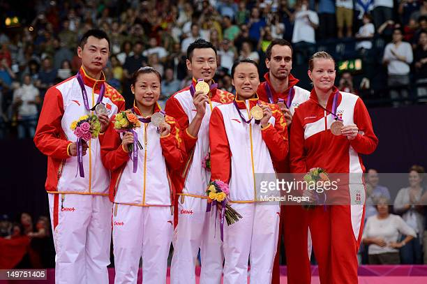 Silver medallists Chen Xu and Jin Ma of China Gold medallists Nan Zhang and Yunlei Zhao of China and Bronze medallists Joachim Fischer and Christinna...