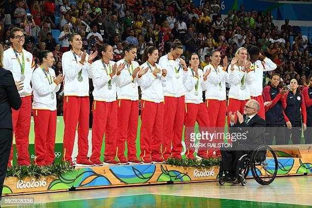Silver medallists Spain's power forward Laura Nicholls Spain's point guard Silvia Dominguez Spain's point guard Laia Palau Spain's forward Marta...