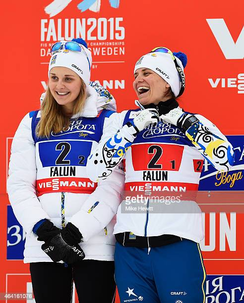 Silver medallists Stina Nilsson and Ida Ingemarsdotter of Sweden laugh after the Women's CrossCountry Team Sprint Final during the FIS Nordic World...