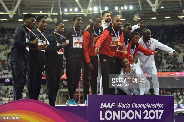 Silver medallists US athlete Wilbert London III US athlete Gil Roberts US athlete Michael Cherry and US athlete Fred Kerley gold medallists Trinidad...
