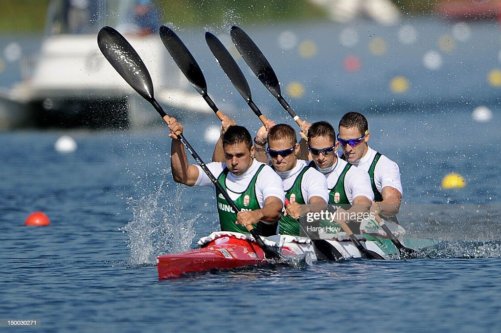 Silver medallists Zoltan Kammerer Tamas Kulifai David Toth and Daniel Pauman of Hungary in action during the Men's Kayak Four 1000m Canoe Sprint on...