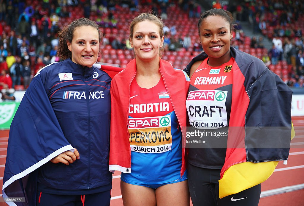 Silver medlaist Melina Robert-Michon of France gold medalist Sandra Perkovic of Croatia and bronze medalist Shanice Craft of Germany celebrate after the Women's Discus final during day five of the 22nd European Athletics Championships at Stadium Letzigrund on August 16, 2014 in Zurich, Switzerland.