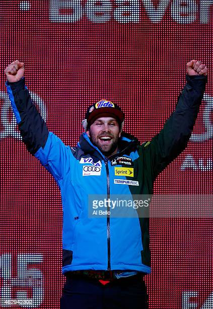 Silver medlaist Travis Ganong of the United States stands on the podium during the Men's Downhill Medals Ceremony in Championships Plaza on Day 6 of...