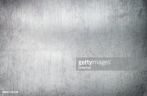 Silver metal background, steel sheet with a brush pattern : Stock Photo