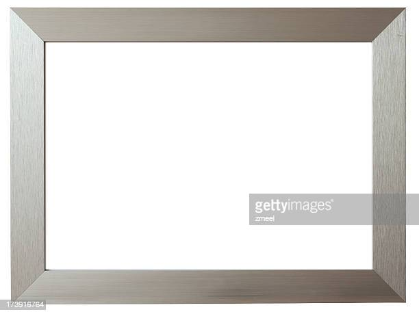 Silver metal picture frame against white background
