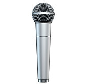 Silver microphone, isolated on white background, 3D render, vertical view