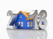 Silver numbers 2018 New Year with blue house icon and reflection on white background. 3D illustration