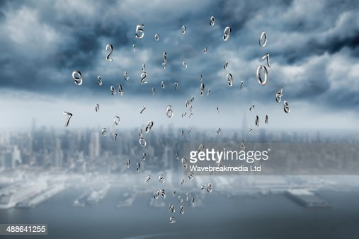 Composite image of silver numbers : Stock Photo