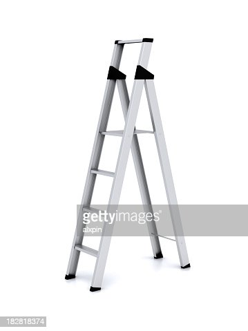 Silver open metal stepladder against white background