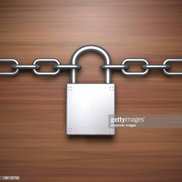 Silver Padlock on a Steel Chain