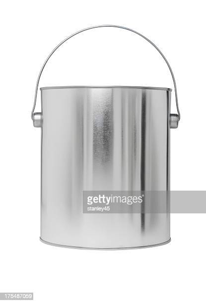 Silver paint bucket, empty. Add your own message or brand