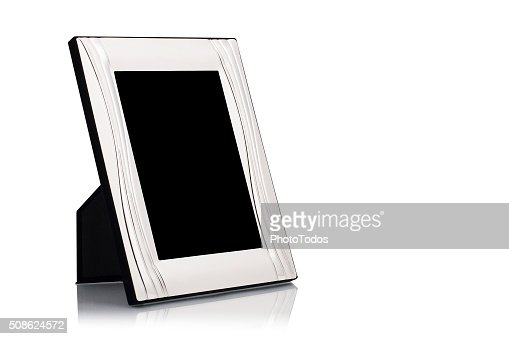 Silver photo frame : Stock Photo