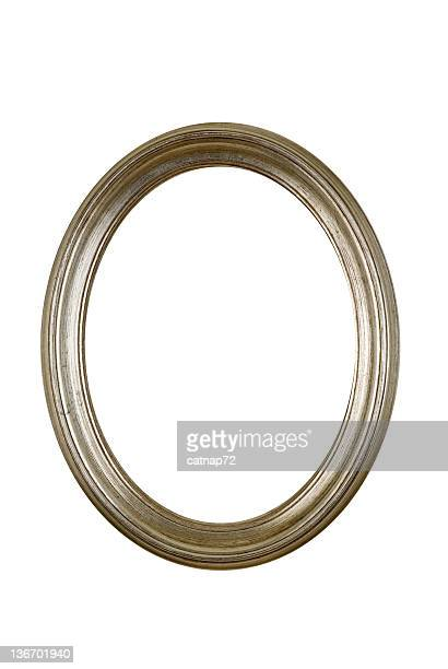 Silver Picture Frame, Circle Round Oval White Isolated