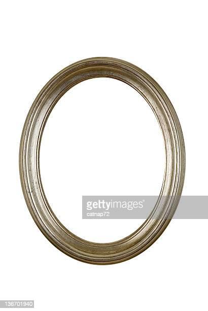 Cornice argento, cerchio rotondo isolato ovale bianco