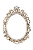 Oval picture frame isolated with clipping path.