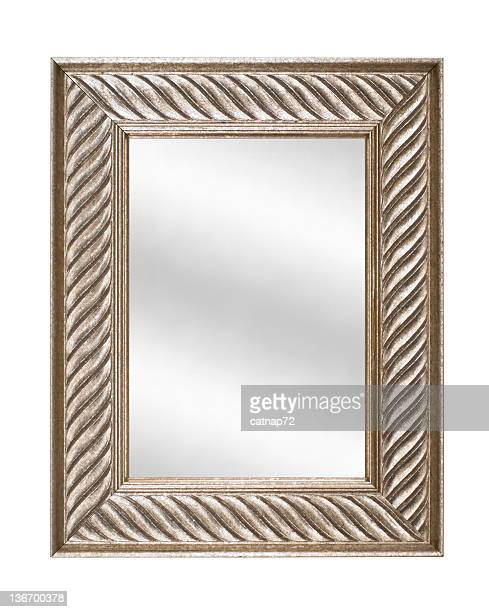 Silver Picture Frame with Mirror, Modern Contemporary, White Isolated
