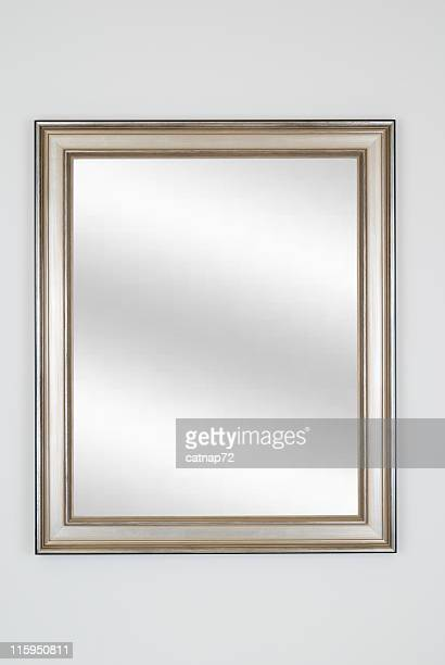 Silver Picture Frame with Mirror, White Isolated