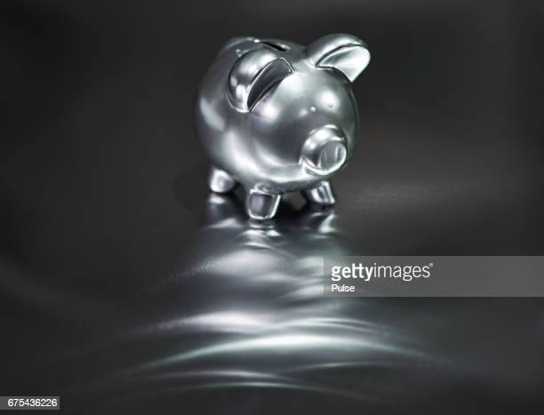 Silver piggy bank on metal background