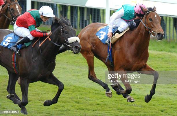 Silver Pivotal ridden by jockey Nicky Mackay on their way to winning the Michael Seely Memorial Fillies' Stakes at York Racecouse