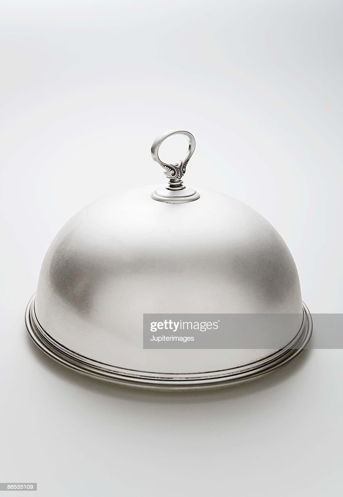 Silver plated Dome Plate cover : Stock Photo
