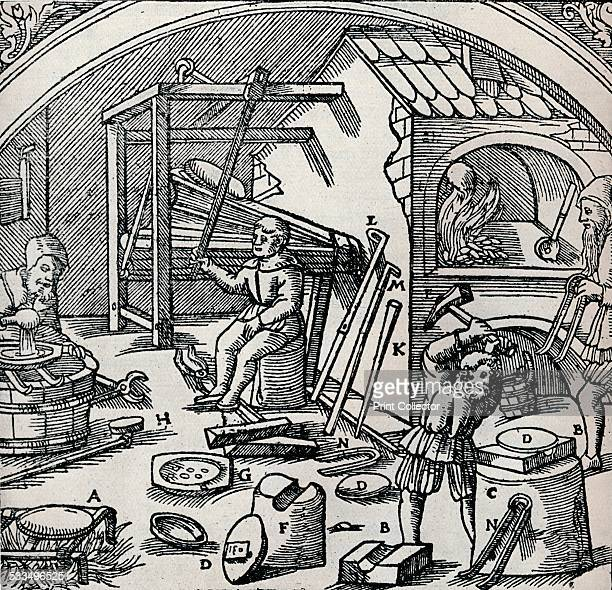 A Silver Refinery 1556 From 'De re metallica' by Georg Bauer is a book cataloguing the art of mining refining and smelting metals published in 1556...