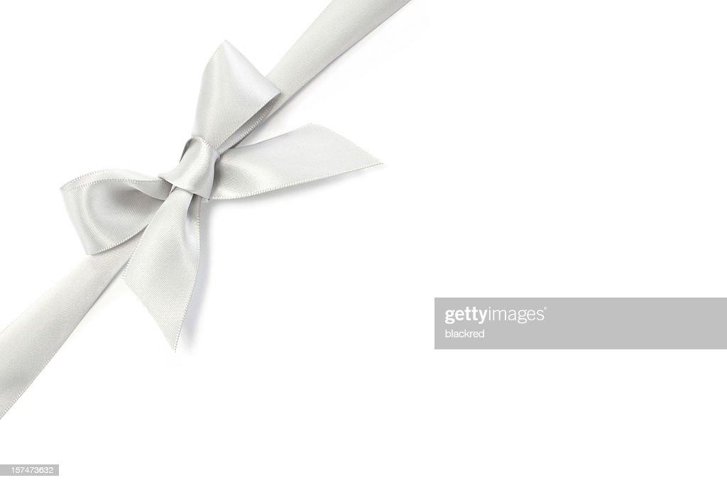 Silver Ribbon Bow Stock Photo | Getty Images  Silver Ribbon B...