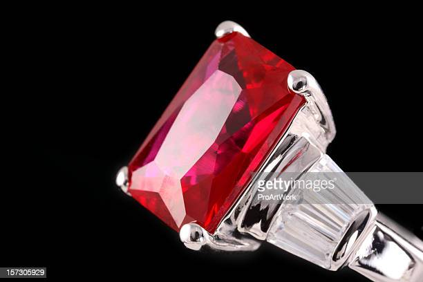 A silver ring with a huge ruby