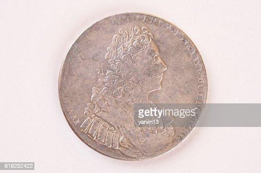 Silver ruble coin 1729 Russian emperor Peter II Autocrat : Foto de stock