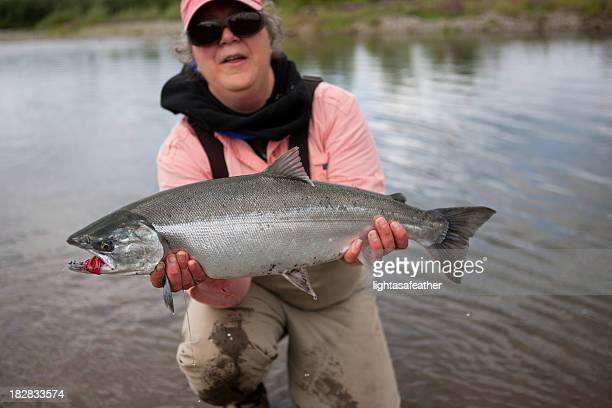 Silver Salmon Caught Fly-fishing in Alaska