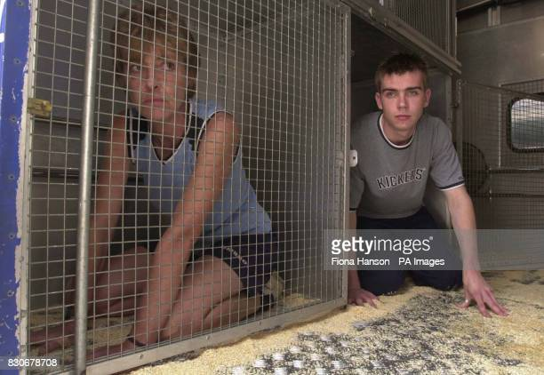 Silver service waiter Gareth Fox from Leytonstone east London and Toni Allen from Northolt Middlesex arriving in a rescue van as they experience a...