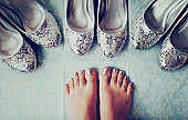 Silver shoes and feet