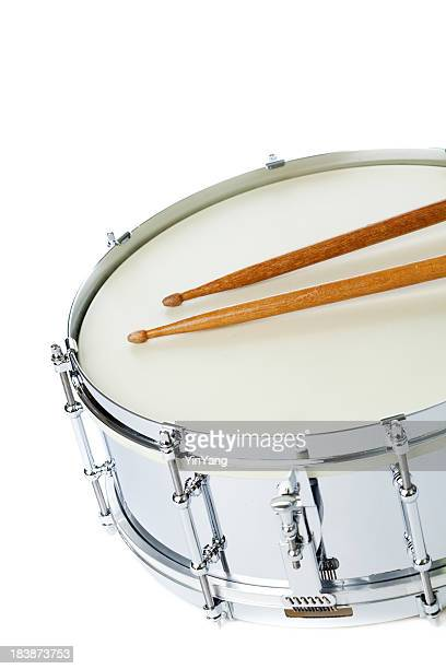 Silver Snare Drum  with Sticks on White Background Vertical