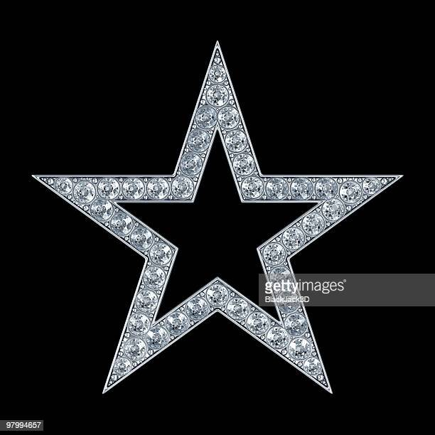 Silver star with diamonds