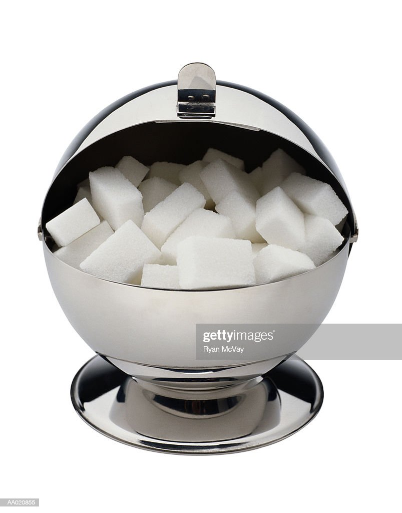 Silver Sugar Bowl with Sugar Cubes