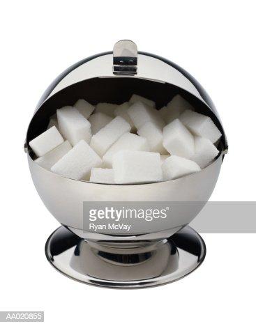 Silver Sugar Bowl with Sugar Cubes