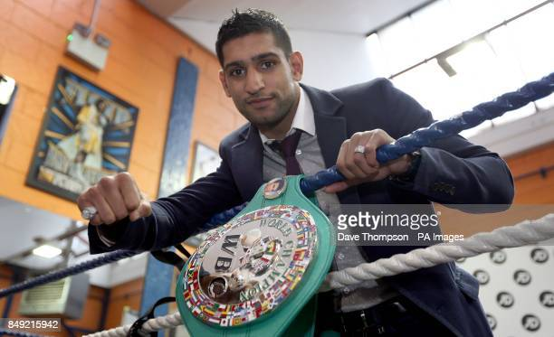 WBC Silver Super Lightweight Champion Amir Khan during the media day at Gloves Community Centre Bolton