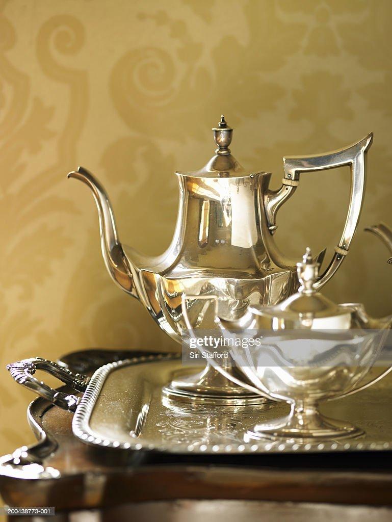 Silver tea set on tray : Stock Photo