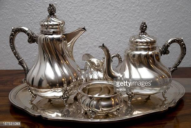 silver théière-Silberne Teekanne